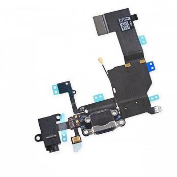 Шлейф iPhone 5c с разъемом зарядки черный, оригинал