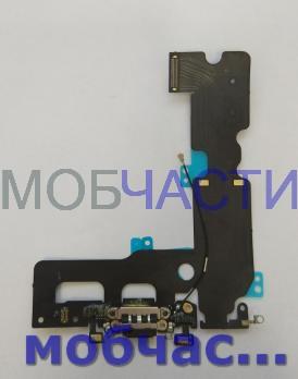 Шлейф iPhone 7 Plus, с разъемом зарядки и микрофонами, черный