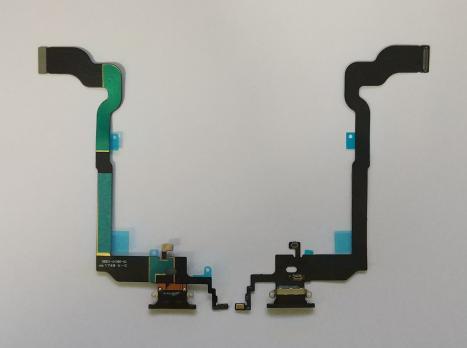 Шлейф iPhone X, с разъемом зарядки и микрофонами, черный