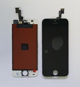 Дисплей с сенсором iPhone 5S, черный, переклеенная матрица