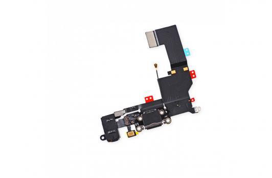 Шлейф с разъемом зарядки и наушников iPhone 5S, черный,