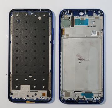 Рамка дисплея (средняя часть корпуса) Xiaomi Redmi Note 7, m1901f7g, с кнопкой включения и громкости, синяя