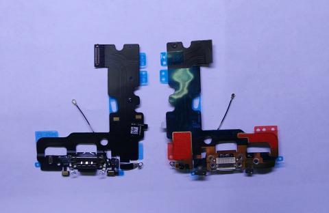 Шлейф iPhone 7, с разъемом зарядки и микрофонами, черный