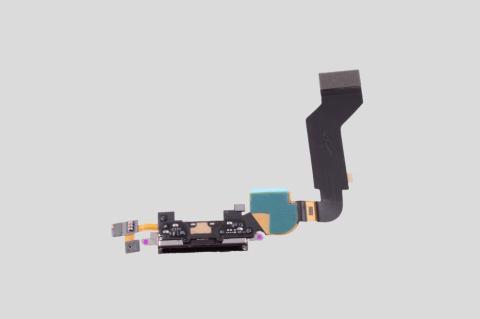 Шлейф iPhone 4S с разъемом зарядки черный