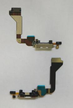 Шлейф iPhone 4g с разъемом зарядки и микрофоном белый