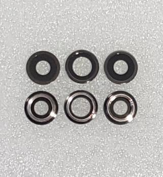 Стекло камеры с рамкой iPhone 11 Pro Max, черное (3 штуки в комплекте)