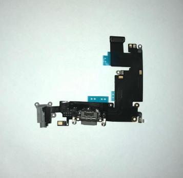 Шлейф iPhone 6 Plus, с разъемом зарядки и наушников, серый
