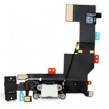 Шлейф с разъемом зарядки и наушников iPhone 5S, белый