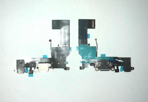 Шлейф с разъемом зарядки и наушников iPhone SE, белый,